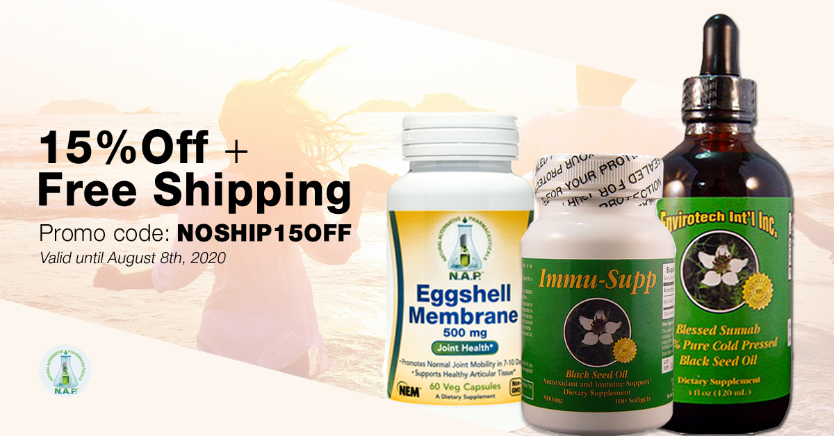 Natural Alternative products promotion valid until August 8th, 2020.